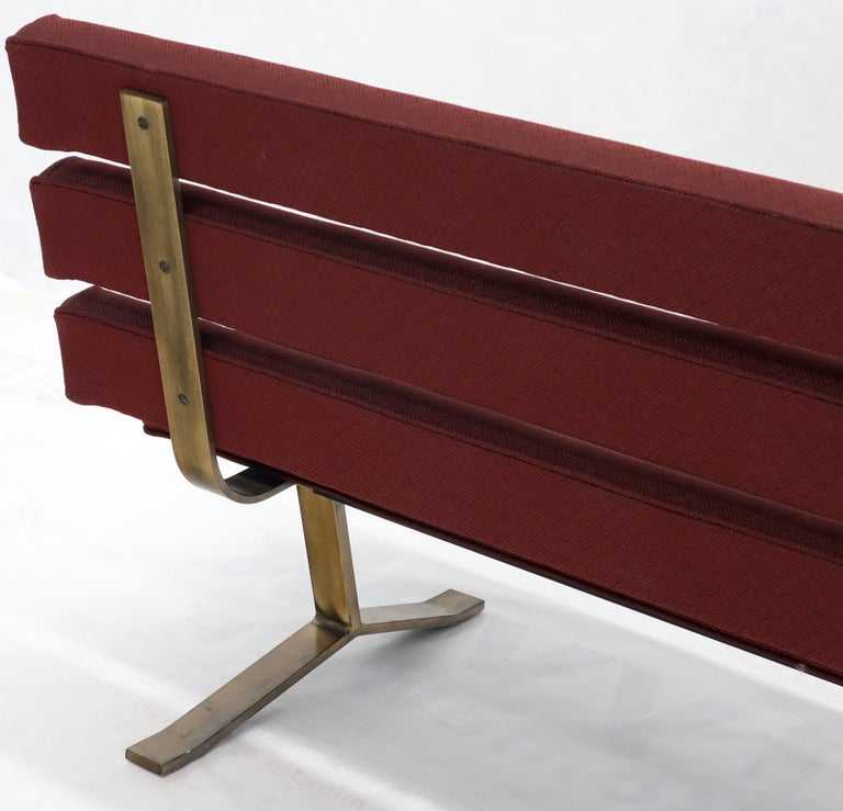 Red Upholstery Bronze Base Bench Settee by Gerald McCabe For Sale 9