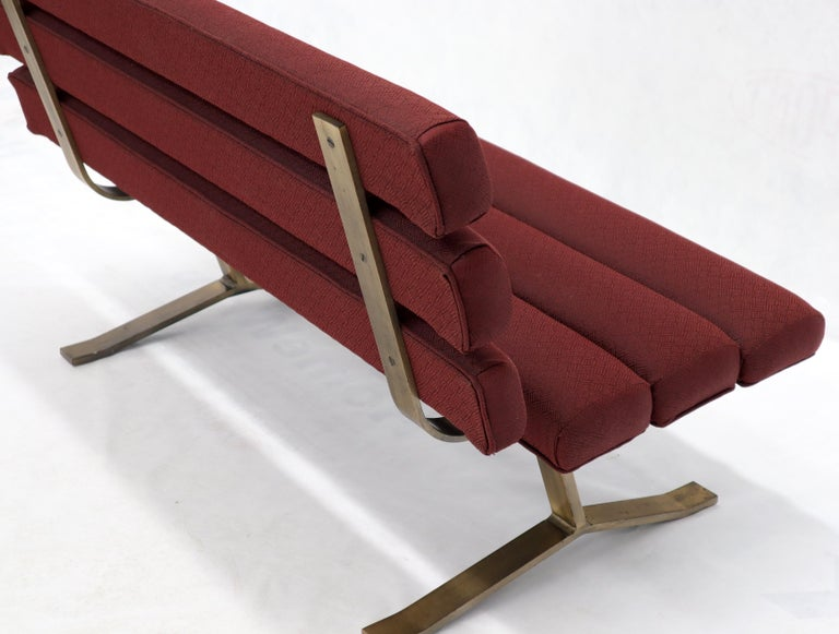 Red Upholstery Bronze Base Bench Settee by Gerald McCabe For Sale 10