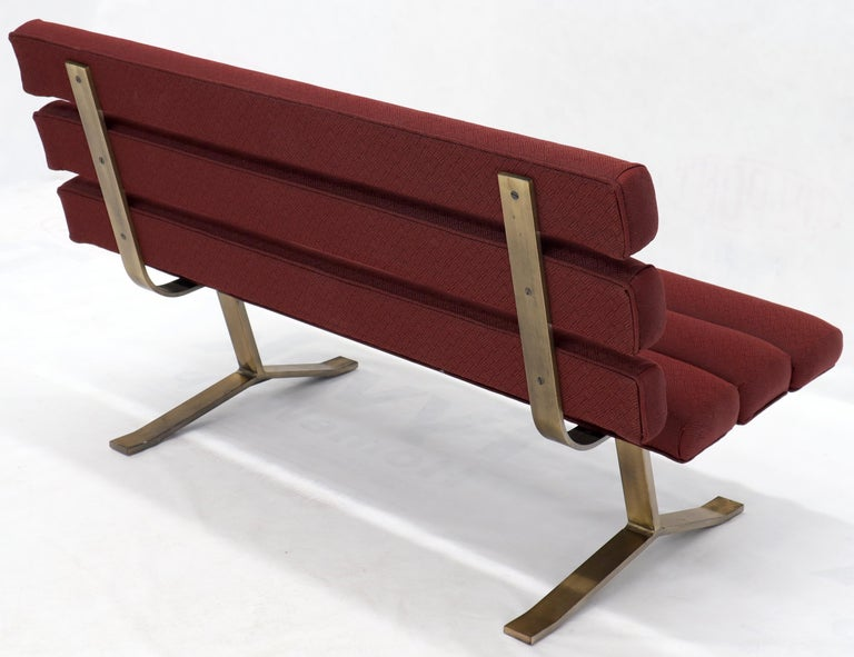 Red Upholstery Bronze Base Bench Settee by Gerald McCabe For Sale 1