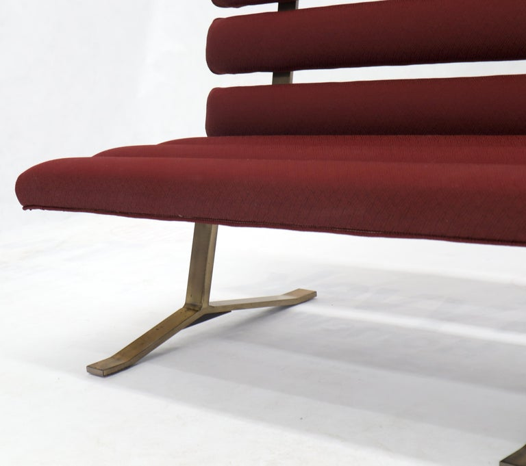 Red Upholstery Bronze Base Bench Settee by Gerald McCabe For Sale 2