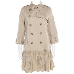 Red Valentino Beige Cotton Twill Eyelet Embroidered Ruffled Double Breasted Coat