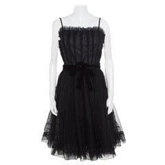 RED Valentino Black Ruffle Detail Sleeveless Belted Tulle Dress M