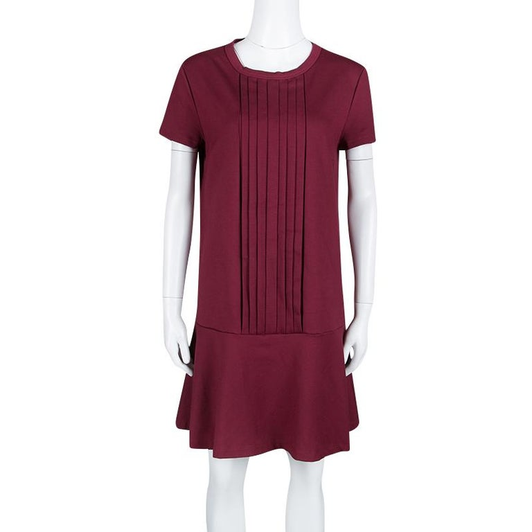 Red Valentino Burgundy Pleat Detail Jersey Peplum Bottom Shift Dress XL In Good Condition For Sale In Dubai, Al Qouz 2