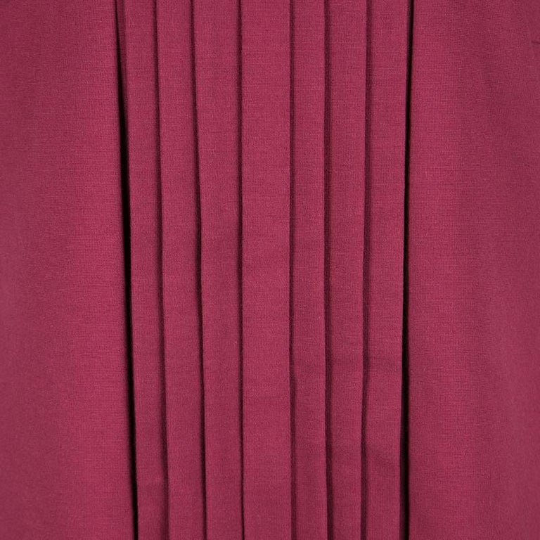 Women's Red Valentino Burgundy Pleat Detail Jersey Peplum Bottom Shift Dress XL For Sale