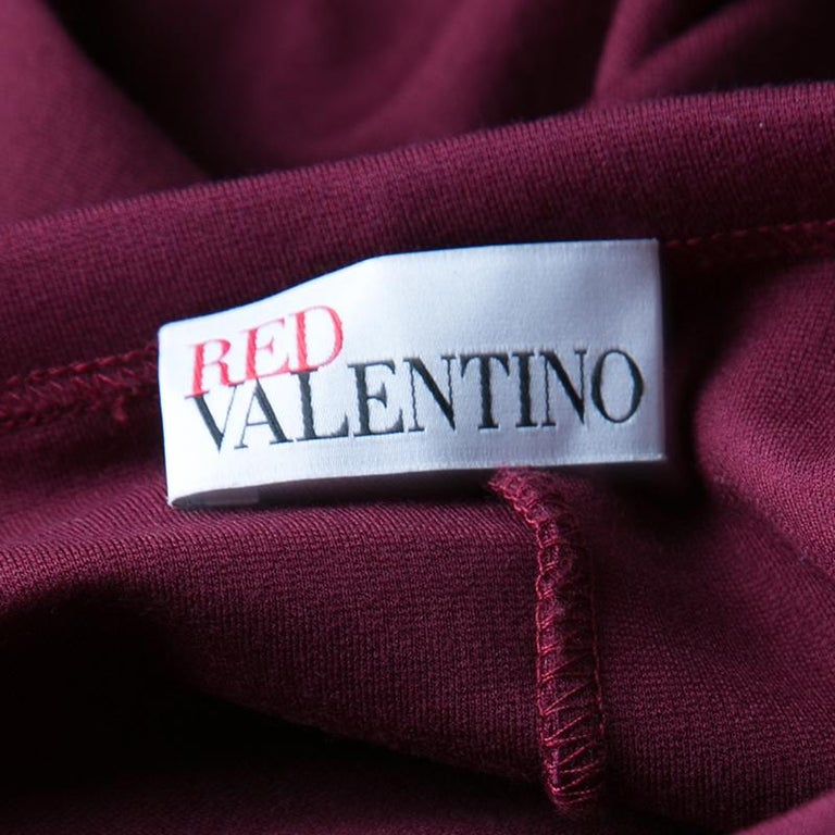 Red Valentino Burgundy Pleat Detail Jersey Peplum Bottom Shift Dress XL For Sale 2