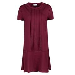 Red Valentino Burgundy Pleat Detail Jersey Peplum Bottom Shift Dress XL