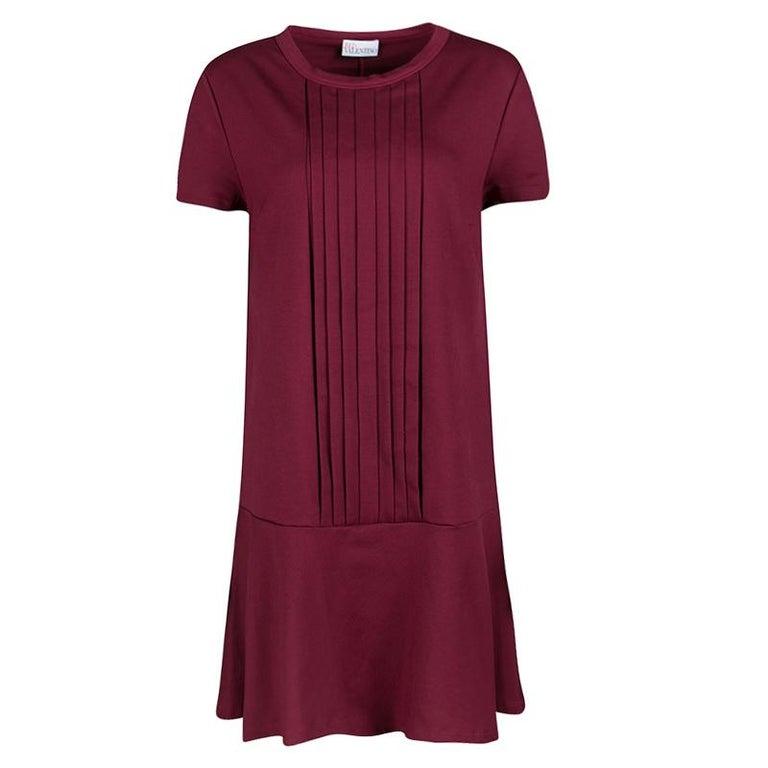 Red Valentino Burgundy Pleat Detail Jersey Peplum Bottom Shift Dress XL For Sale