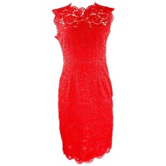 Red VALENTINO Floral Lace Sleeveless Midi Dress Size US6