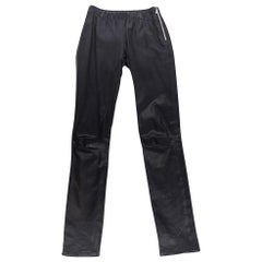 Red Valentino Leather Pant Slim Cut Bold Zipper Black Lambskin Fits 4 / 6 Mint