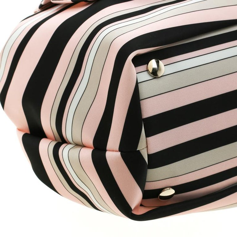 RED Valentino Multicolor Striped Bow Fabric Frame Satchel For Sale 6