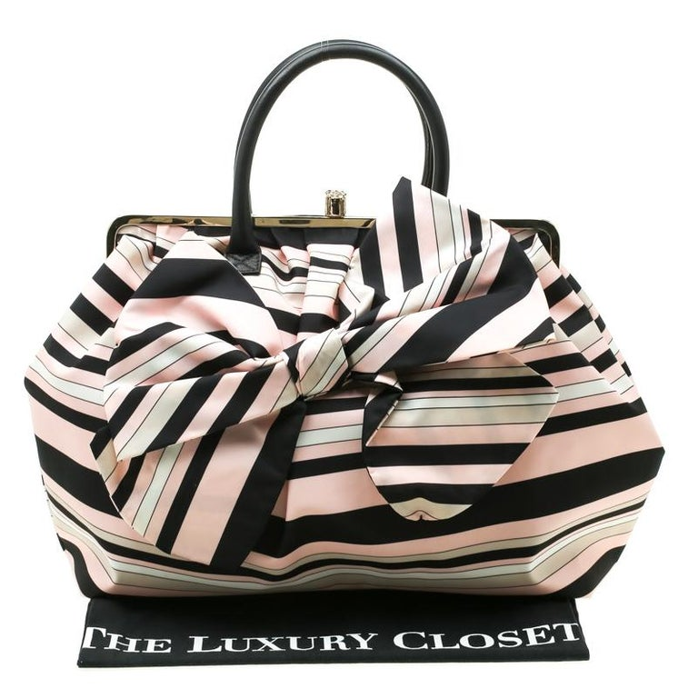 RED Valentino Multicolor Striped Bow Fabric Frame Satchel For Sale 7