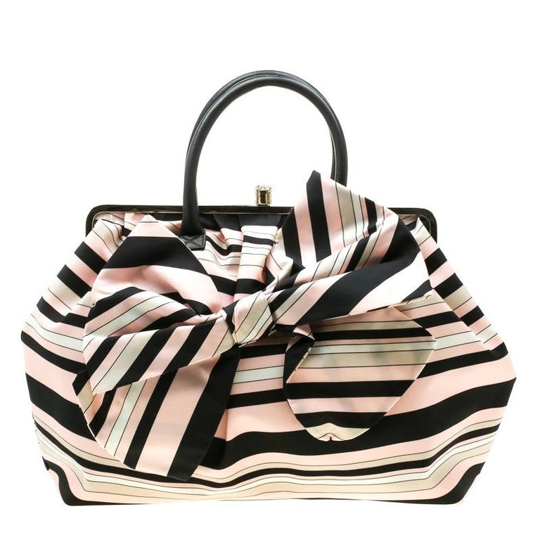 RED Valentino Multicolor Striped Bow Fabric Frame Satchel For Sale