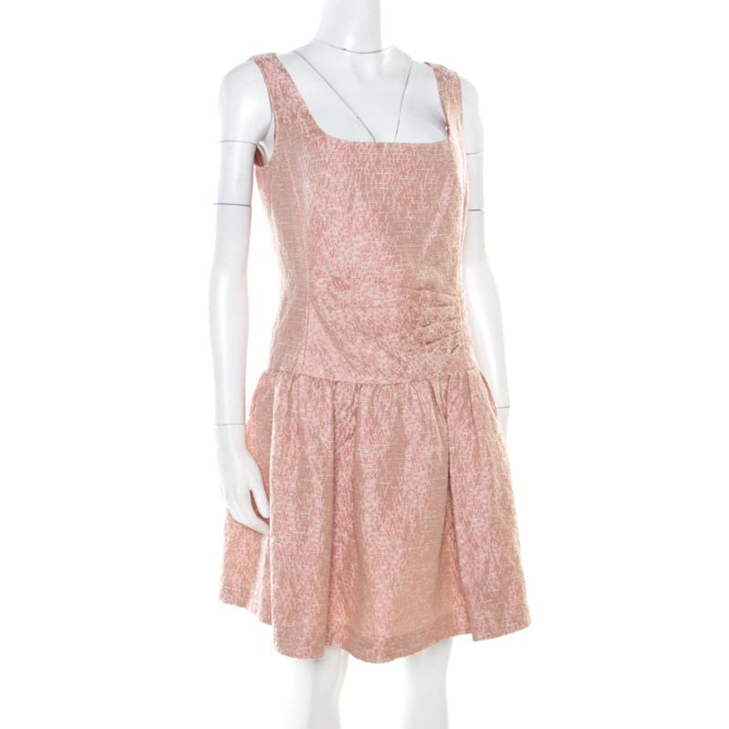 27f82d2d06b Red Valentino Pink and White Textured Drop Waist Sleeveless Dress M For Sale  at 1stdibs