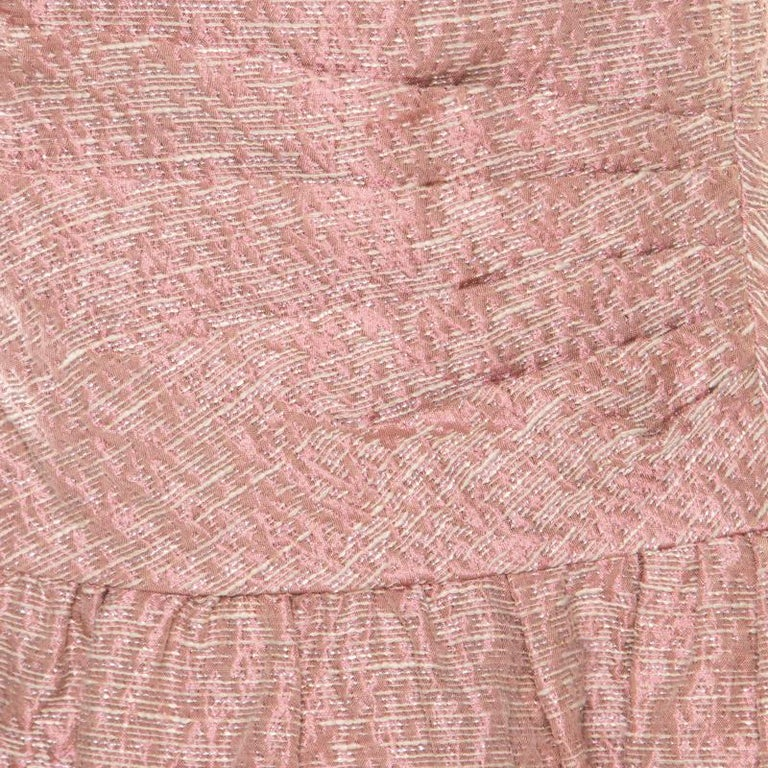 b4e6213c169 Red Valentino Pink and White Textured Drop Waist Sleeveless Dress M In Good  Condition For Sale