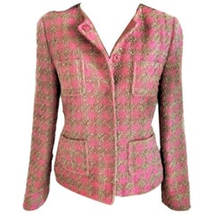 Red Valentino Pink Bon Bon & Antique Gold Tweed Wool Jacket FR 38 US 4 6