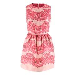 Red Valentino Pink Floral-pattern Jacquard Mini Dress XS