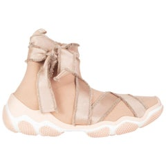 RED VALENTINO pink mesh GLAM RUN High-Top Sneakers Shoes 40