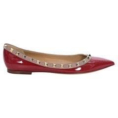 Valentino Red Rockstud Patent Leather Flats