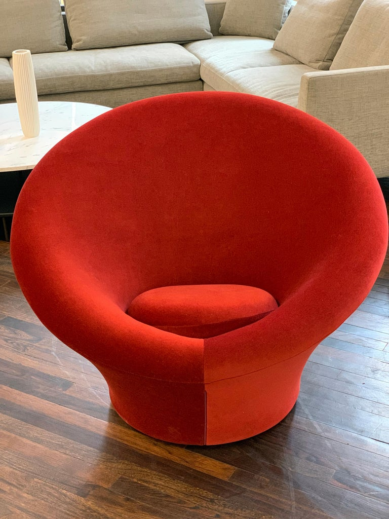 Red Velvet Artifort Big Mushroom Lounge Chair by Pierre Paulin For Sale 1
