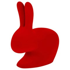 Red Velvet Baby Rabbit Chair, Designed by Stefano Giovannoni, Made in Italy
