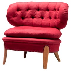 Red Velvet Easy Chair by Otto Schulz