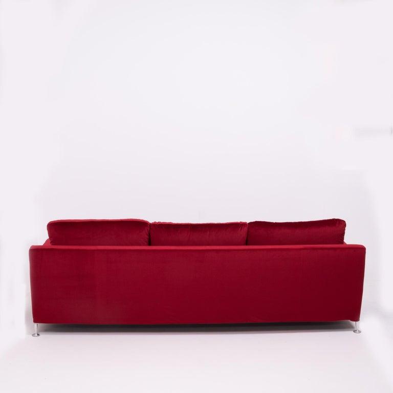 Red Velvet Harry Three-Seat Sofa by Antonio Citterio for B&B Italia For Sale 5