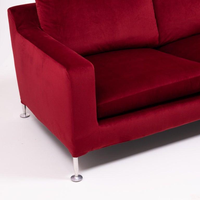 Italian Red Velvet Harry Three-Seat Sofa by Antonio Citterio for B&B Italia For Sale
