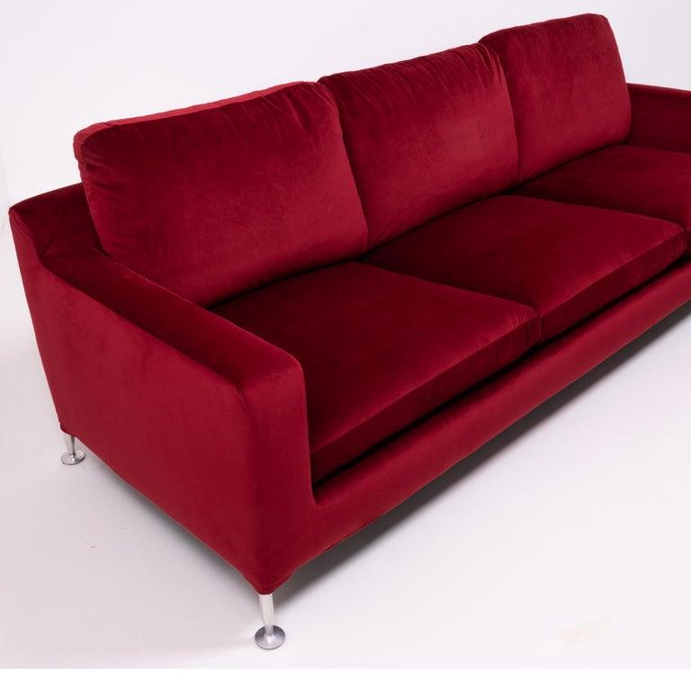 Late 20th Century Red Velvet Harry Three-Seat Sofa by Antonio Citterio for B&B Italia For Sale