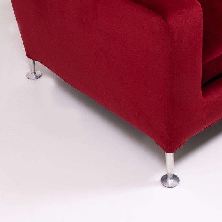 Red Velvet Harry Three-Seat Sofa by Antonio Citterio for B&B Italia For Sale 1