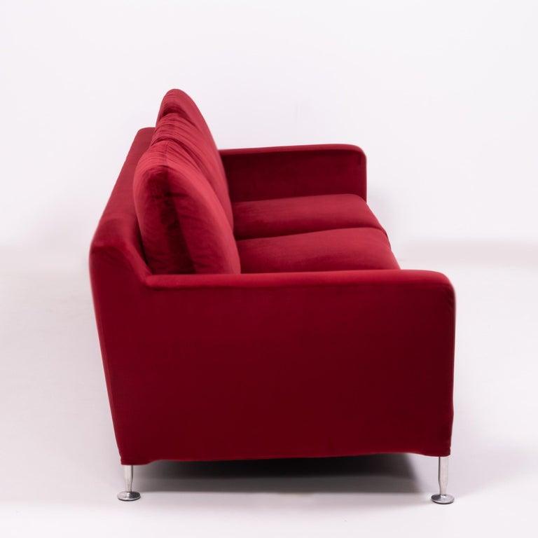 Red Velvet Harry Three-Seat Sofa by Antonio Citterio for B&B Italia For Sale 2