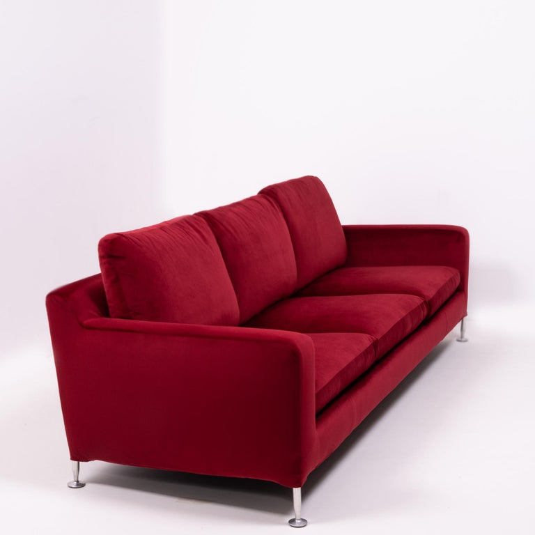 Red Velvet Harry Three-Seat Sofa by Antonio Citterio for B&B Italia For Sale 3