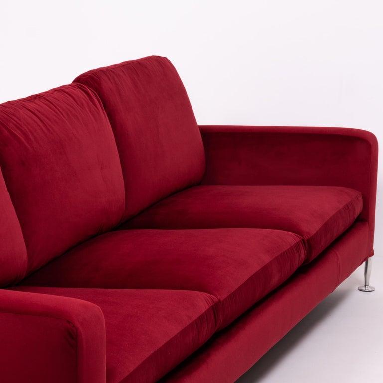 Red Velvet Harry Three-Seat Sofa by Antonio Citterio for B&B Italia For Sale 4