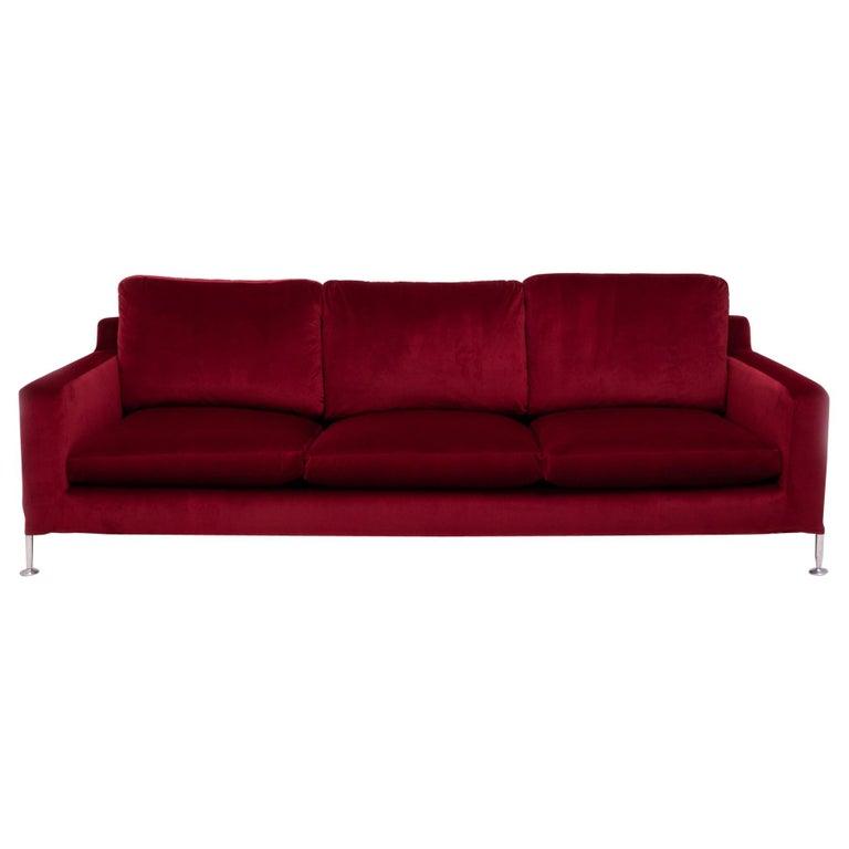 Red Velvet Harry Three-Seat Sofa by Antonio Citterio for B&B Italia For Sale
