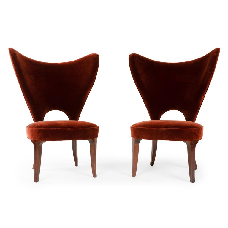 Mid-Century Modern Red Velvet Heart Chair By Edward Wormley For Sale