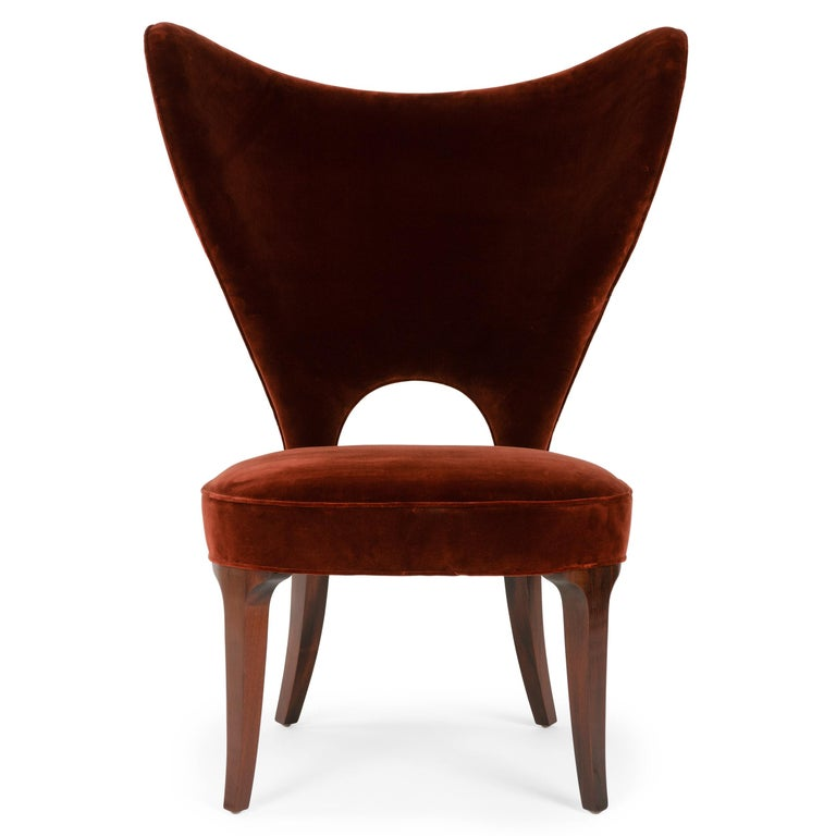 American Red Velvet Heart Chair By Edward Wormley For Sale