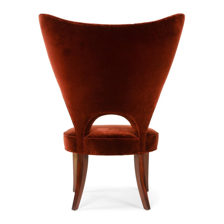 Upholstery Red Velvet Heart Chair By Edward Wormley For Sale