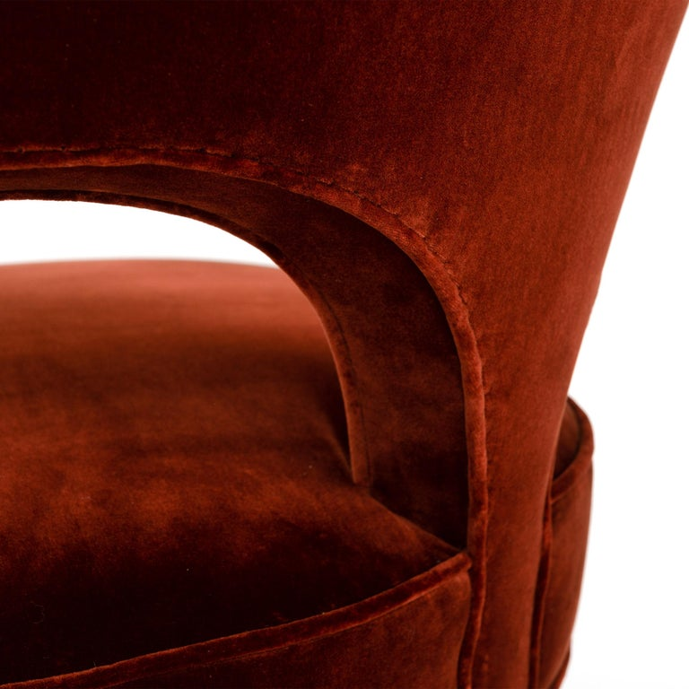 Red Velvet Heart Chair By Edward Wormley For Sale 1