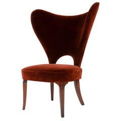 Red Velvet Heart Chair By Edward Wormley
