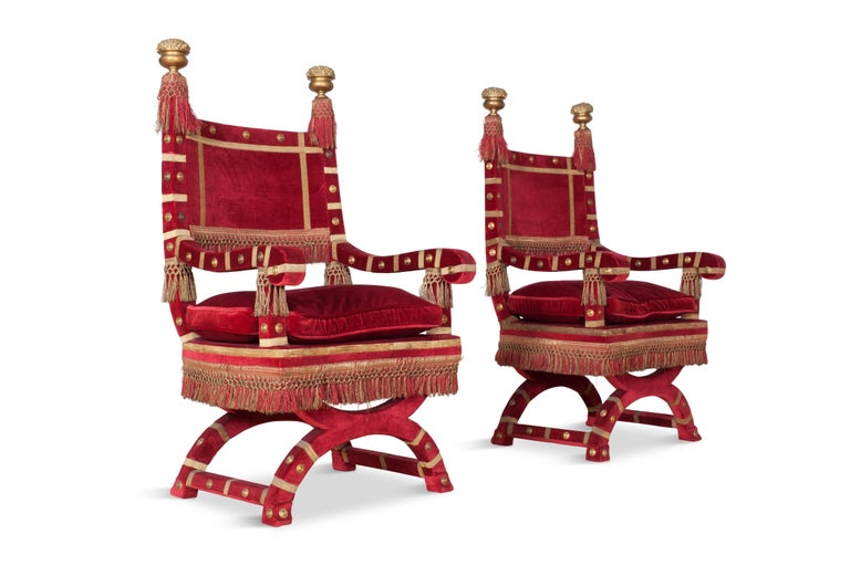 Hollywood Regency Eclectic Red Velvet Italian Throne Chairs For Sale