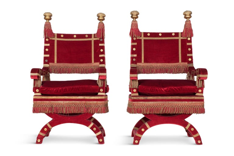 Eclectic Red Velvet Italian Throne Chairs For Sale 2