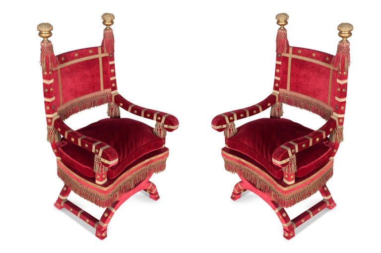 Eclectic Red Velvet Italian Throne Chairs For Sale 4