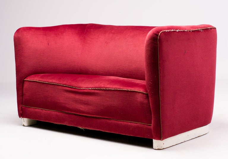 Red Velvet Sofa by Ole Wanscher For Sale 2