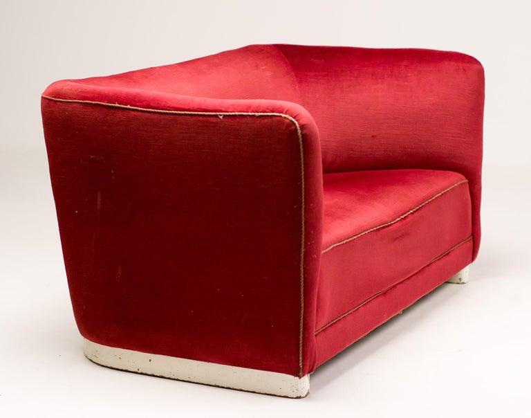 Danish Red Velvet Sofa by Ole Wanscher For Sale