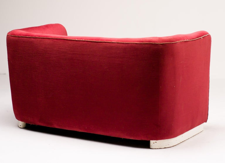 Lacquered Red Velvet Sofa by Ole Wanscher For Sale