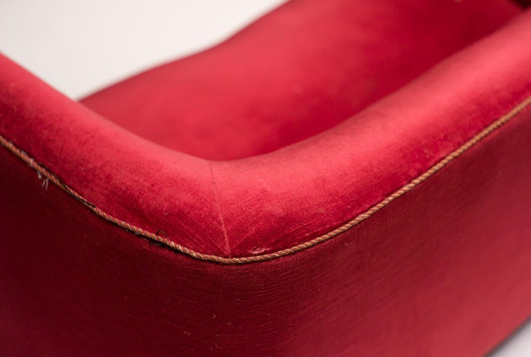 Mid-20th Century Red Velvet Sofa by Ole Wanscher For Sale