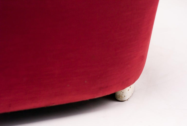 Wood Red Velvet Sofa by Ole Wanscher For Sale