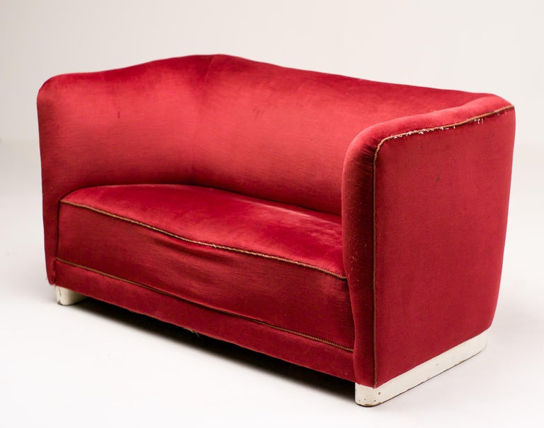 Red Velvet Sofa by Ole Wanscher For Sale 1
