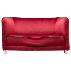 Red Velvet Sofa by Ole Wanscher