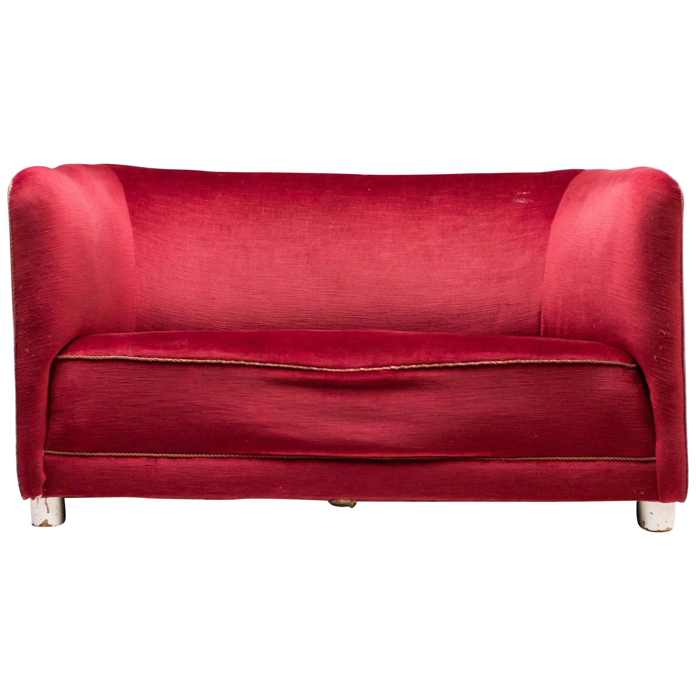 Red Velvet Sofa by Ole Wanscher