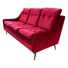Red Velvet Sofa from the 1950s